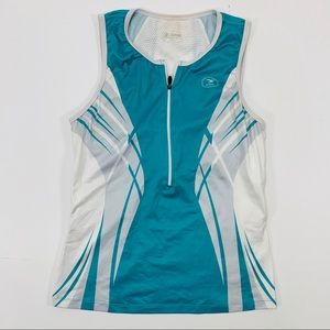 SUGOI | Teal White Tank Top Built In Sports Bra